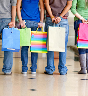 What are lots of stores teenagers like to shop at?